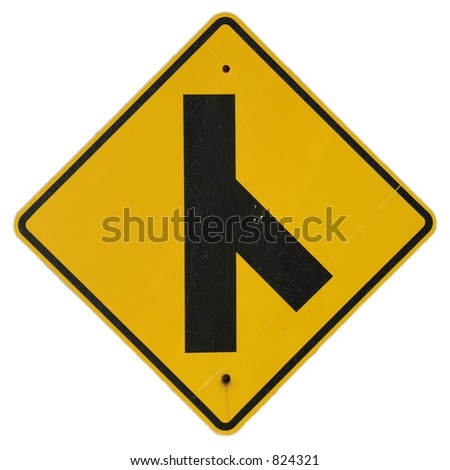 Road Enters Right sign - stock photo