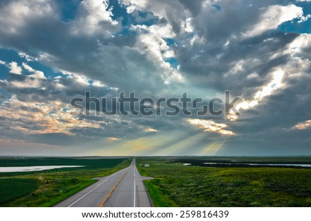 Road from Saskatchewan to Alberta, Canada