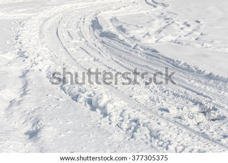 road from snow - stock photo