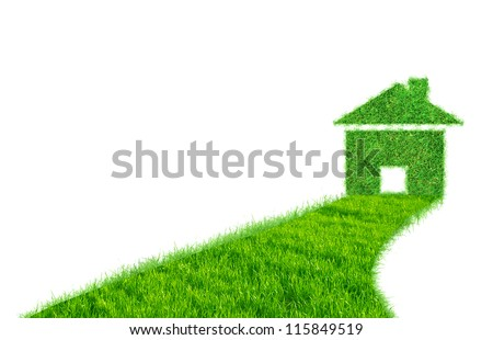 road from the grass leading to the house from the grass - stock photo