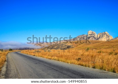 Road going through the stunning landscape of Madagascar highlands, central Madagscar