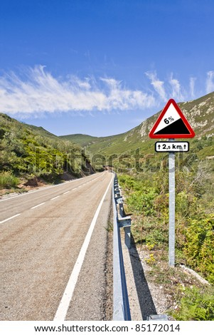 Road grade 6 per cent, road sign - stock photo