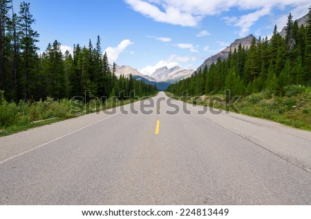 road Icefield Parkway in Canada - stock photo