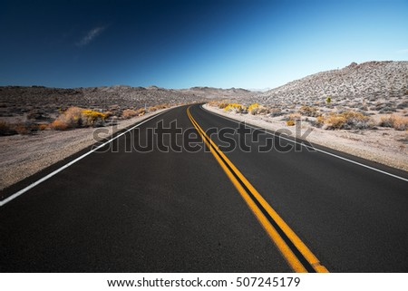 Road in a desert at sunny day