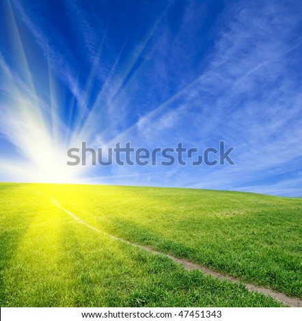 road in a green field - stock photo