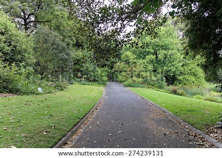 Road in a park of Royal Botanic Gardens Melbourne