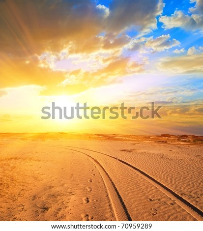 road in a sand desert at the sunset - stock photo