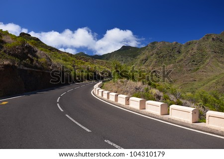 Road in Anaga Mountains from Taganana to San Andres, Tenerife, Canary islands, Spain
