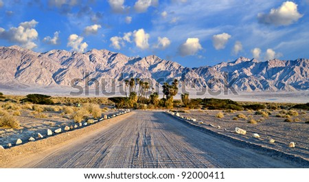 Road in Avrona nature reserve, Arava, desert of the Negev, 5 km from Eilat, Israel - stock photo
