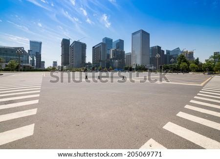 road in Chengdu CBD - stock photo