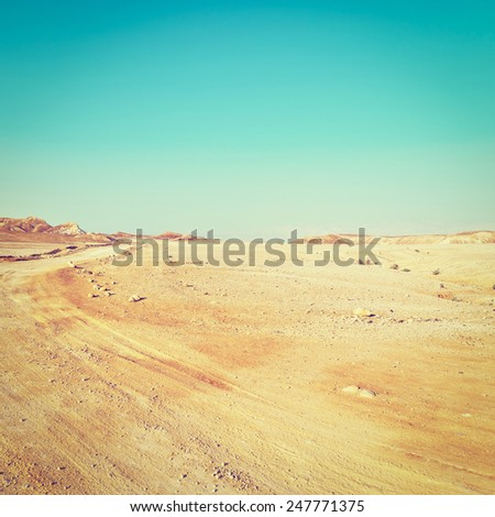 Road in Desert on the West Bank of the Jordan River, Instagram Effect - stock photo
