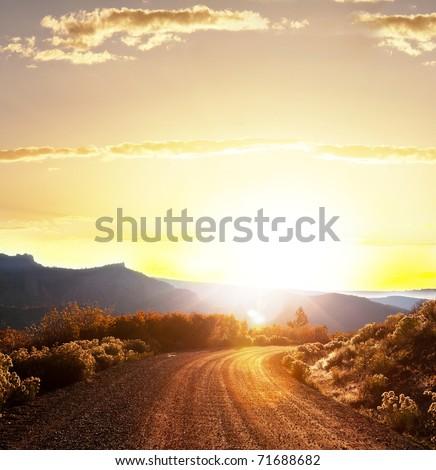 road in fields - stock photo