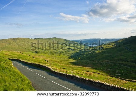 Road in hills, Lake Windermere, Lake District