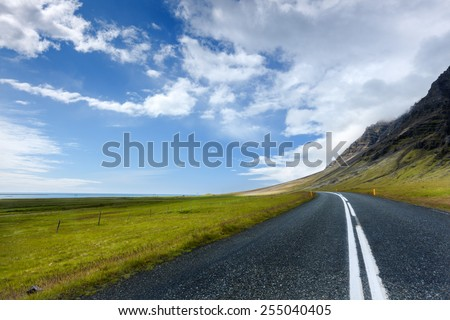 Road in Iceland/ Road to freedom - stock photo