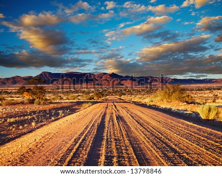 Road in Kalahari Desert, Namibia - stock photo