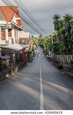 Road in Luang Prabang - stock photo