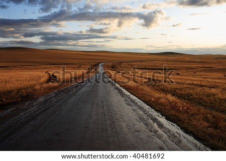 road in middle of rural area to evening - stock photo
