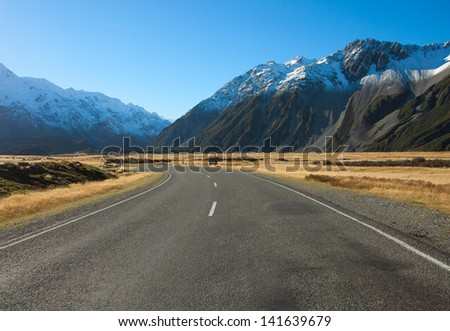 Road in Mount Cook National Park, New Zealand - stock photo