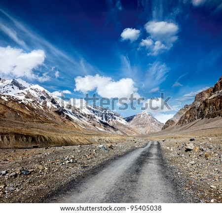 Road in mountains (Himalayas). Spiti Valley,  Himachal Pradesh, India - stock photo