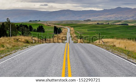 Road in new zealand - stock photo
