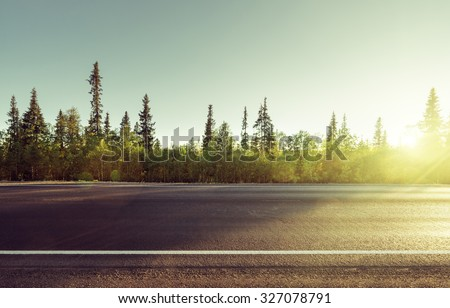 road in north mountain forest - stock photo