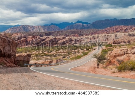 Road in Quebrada de Cafayate valley, Argentina