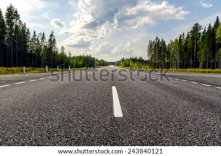 Road in Russian forest is situated in Dole. - stock photo