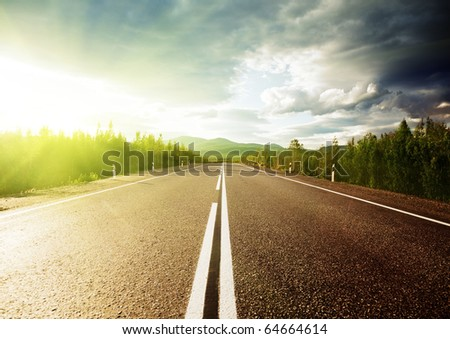 road in Russian mountains - stock photo