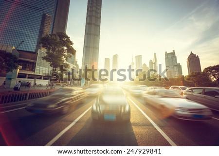 road in shanghai lujiazui financial center - stock photo