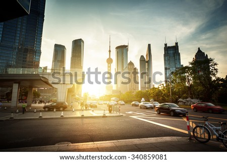 road in Shanghai lujiazui financial center, China - stock photo