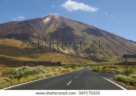 Road in Teide National Park, Tenerife, Canary islands, Spain - stock photo