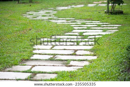 road in the beautiful garden - stock photo