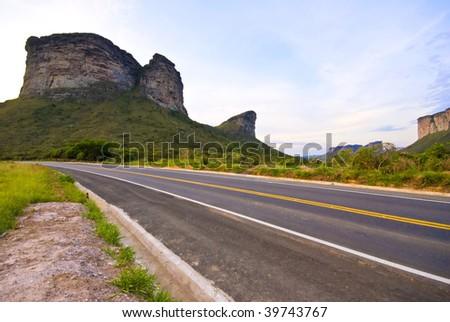Road in the Chapada Diamantina, Brazil . - stock photo