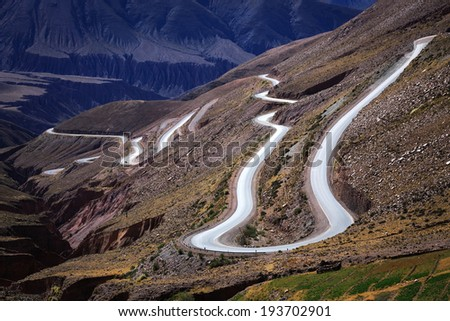 Road in the colored mountain in Purmamarca, Jujuy Argentina