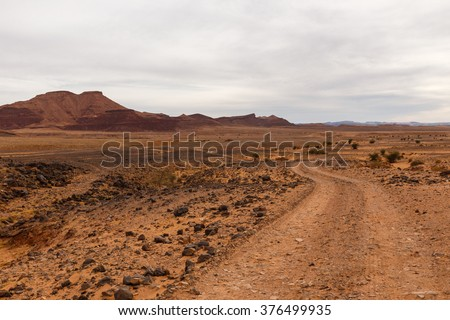 road in the desert Sahara - stock photo