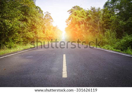 road In the forest at thailand