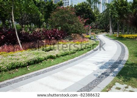 Road in the garden in Guangzhou, China - stock photo