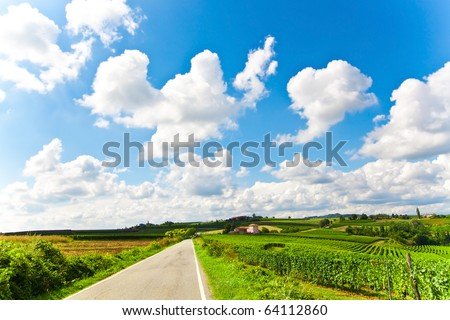 Road in the hillside - stock photo