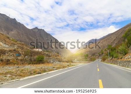 road in the mountain with sunset