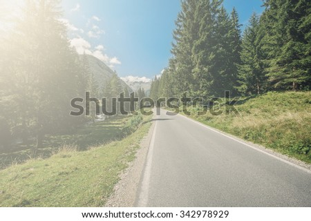 road in the mountains of the Alps in Austria