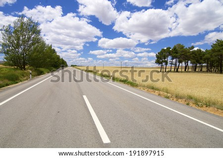 Road in the province of Soria, Castile-Leon, Spain - stock photo
