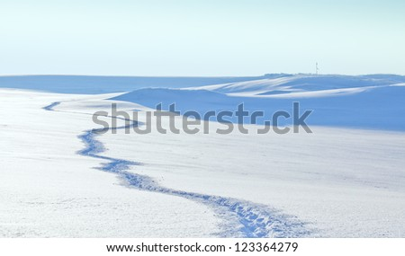 road in the snow - stock photo