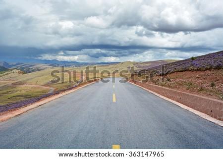 road in tibet area - stock photo