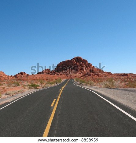 Road in Valley of Fire, Nevada - stock photo