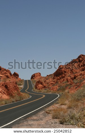 Road in Valley of Fire State Park, Nevada - stock photo