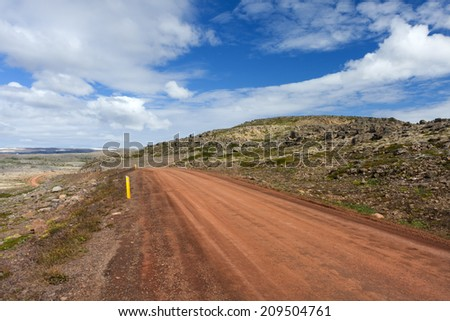Road in West Fjords in Iceland./ Icelandic Road  - stock photo