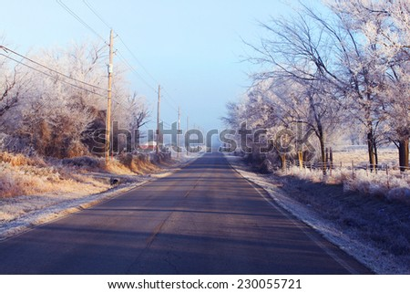 Road in winter - stock photo