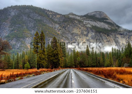 Road in Yosemite Valley National Park California in autumn - stock photo