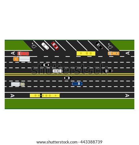 Road infographics. Plot road, highway, street parking. With different cars. Congestion and parking cards. Top view of the highway. Raster illustration