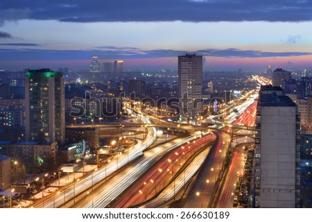 Road interchange in Moscow, Russia in evening. Long exposure - stock photo